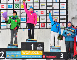 Woen's podium at Rabenstein during the third stage of the Ice Climbing World Cup 2013. From left to right: Park Heeyong (KOR), Maxim Tomilov (RUS), Alexey Tomilov (RUS).