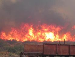 L'incendio a Rocklands nel gennaio 2013.