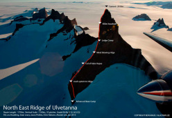 The NE ridge of Ulvetanna (2931m) in the Antarctic, first climbed by Leo Houlding, Sean Leary, Alastair Lee, Jason Pickles, Chris Rabone and David Reeves, January 2013.
