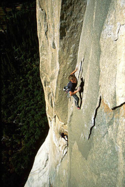 Leo Houlding dynoing through the crux of The Passage to Freedom, El Capitan, Yosemite.