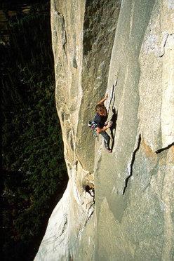 Leo nel tratto chiave di The Passage to Freedom, El Capitan, Yosemite.