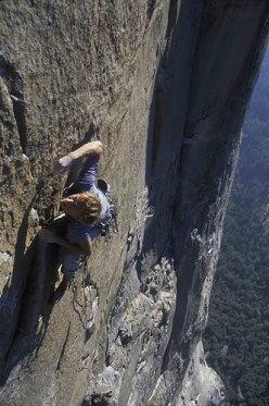 Leo climbing El Corazon, El Capitan, Yosemite.
