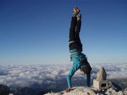 Naranjo de Bulnes summit handstand.