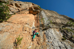 Not all routes are difficult. Here Cecilia Marchi climbs Mosca Bianca at the Castello.
