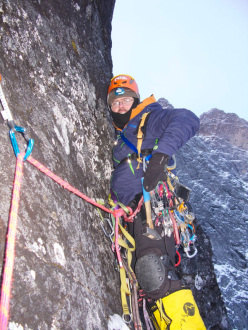 01/2013: Andy Kirkpatrick, Tormod Granheim and Aleksander Gamme during their winter ascent of Suser Gjennom Harryland on Trollveggen (Troll Wall) in Norway.
