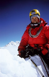 Valery Babanov on the summit of Jannu