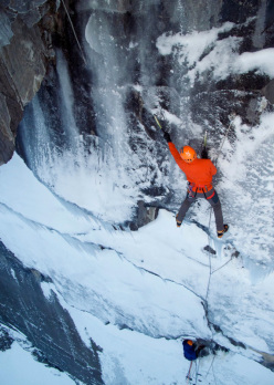 The God Delusion (175m, M8+ WI5+), Stanley Headwall
