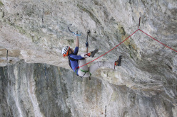Lucie Hrozová climbing Spiderman M13 at Eptingen, Switzerland.