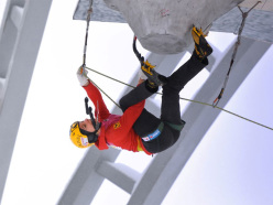 Angelika Rainer competing in the 4th stage of the Ice Climbing World Cup 2013 at Busteni