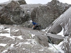 Iain Small on No Success Like Failure (IX,8) on Ben Nevis.