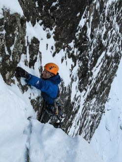 Iain Small making the first winter ascent of Jib (VIII,8) on Blaven.