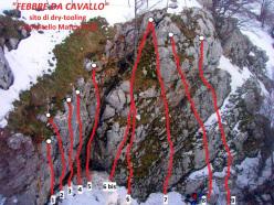 The drytooling crag Febbre da Cavallo in Molise, Italy