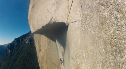 Pavel Dobrinskiy and Rustam Gelmanov climbing The Nose in Yosemite, USA.