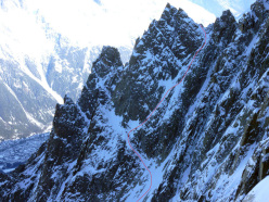 On 14/02/13 Julien Herry, Luca Rolli and Davide Capozzi ascended and skied the Voie Normale dell'Aiguille des Pelerins, Mont Blanc massif