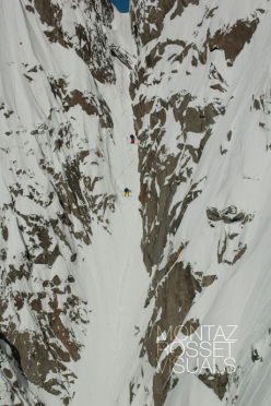 17/02/2013: Vivian Bruchez and Jonathan Charlet making the first descent of the Frigor Couloir on Petite Aiguille Verte in the Mont Blanc massif.