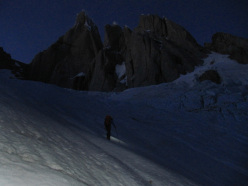 Markus Pucher during his free solo of the Ragni Route on Cerro Torre in Patagonia on 14/01/2013