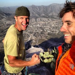 Josh McCoy and Alex Honnold after having made the first free ascent of Mi Regalo Favorito (8b) at El Portreo Chico, Mexico.
