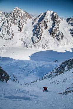 Davide Capozzi, Couloir de l'Aiguille Carrée, Aiguille Verte, Monte Bianco