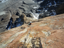 Sarah Hart on the upper section of El Zorro established together with Colin Haley up the West Face of Mojon Rojo in Patagonia.