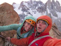 Sarah Hart and Colin Haley on the summit of Mojon Rojo in Patagonia after the first asent of El Zorro (700m, 5.10, A1, 21/02/2013).
