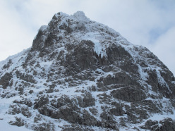 The Breneva Face on Ben Nevis and the obvious central line of The Snotter