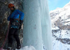 Beppe Ballico at the 3rd belay of Attraverso Travenanzes