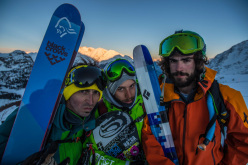 da sinistra skier Giuliano Bordoni, local rider Jacopo Thomain, telemarker Paolo Marazzi