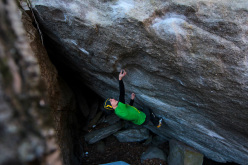 Jorg Verhoeven sending The Great Shark Hunt 8A+, Ticino, Switzerland