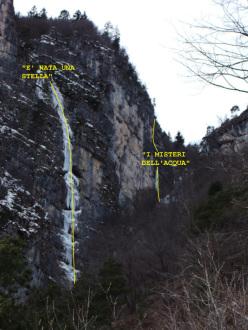 I misteri dell'acqua, Cima Corda - Val di Ledro (100m, WI4+ M4, Giorgio Tameni, Luca Tamburini 07/02/2013)