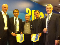 From left to right: Stefano Tamburini  AMSA,  Wolfgang Wabel pres. European Committee, Ariano Amici pres. FASI, Marco Scolaris pres. IFSC, Roberto Bresciani Arco Town Council