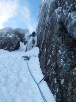 Stob Coire nan Lochan, Glen Coe. Mauro su Twisting Gully Right Fork