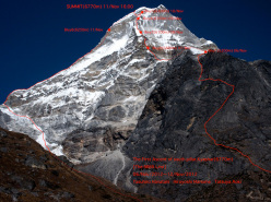 Kyashar (Nepal) and the route climbed by Tatsuya Aoki, Yasuhiro Hanatani and Hiroyoshi Manome