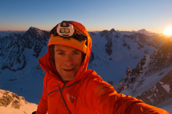 Jon Griffith at dawn on Couloir Couturier, Aiguille Verte on 03/03/2013