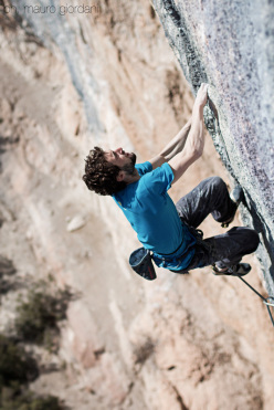 Silvio Reffo in action on the route  Mind Control at Oliana, Spain