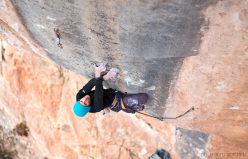 Gabriele Moroni climbing at Siurana, Spain