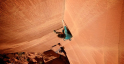 Steph Davis climbing Glad di be trad 5.13-, first ascended by Steve Hong in the Mineral Canyon, USA.