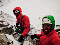 Hansjörg Auer and David Lama at their highpoint during their first attempt of Schiefer Riss on the Sagwand.