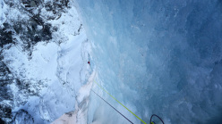 Matthias Scherer and Tanja Schmitt on Kjerrskredkvelven, the enormous icefall at Gudvangen, Norway.