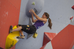 The first stage of the Bouldering World Cup 2013 at Chongqing in China: Anna Stöhr.