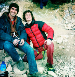 Chris Sharma and Adam Ondra at Oliana, Spain