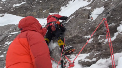 Andy Kirkpatrick, Ross Kain and Neil Chelton attempting the Russian route up the North Face of the Eiger.