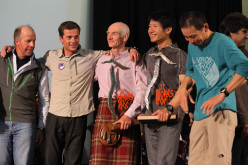 Some of the teams:: from left to right: Sandy Allan (Nanga Parbat); Sebastien Bohin (Kamet); Rick Allen (Nanga Parbat); Yasuhiro Hanatani (Kyashar) and Tatsuya Aoki (Kyashar).