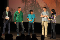Piolets d'Or special mention: from left to right Stephen Venables (Jury President Piolets d'Or 2013); Peter Ortner and David Lama; Hayden Kennedy and Kay Rush.