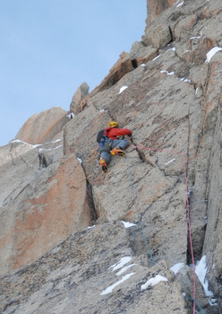 Dave Almond on pitch 3, Aiguille Du Midi North Face, Mont Blanc