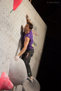 The second stage of the Bouldering World Cup 2013 at Millau in France: Kilian Fischhuber