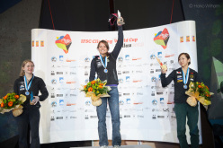 The second stage of the Bouldering World Cup 2013 at Millau in France: Shauna Coxsey, Anna Stöhr, Akiyo Noguchi