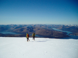 On the summit of Ben Nevis, enjoying a rare day of visibility