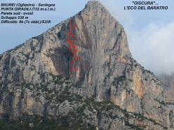 Oiscura... L'eco del Baratro, Punta Giradili, Sardegna (230m, 8b max, 7c oblig, Gianni Canale, Aldo Mazzotti, Stefano Salvaterra, Franco Cavallaro e Adriano Cavallaro 2012/2013)