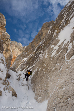 Francesco Tremolada and Andrea Oberbacher making the first ski descent of the West Face of Piz Lavarella, Dolomites, on 10/04/2013.
