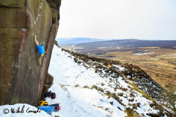 Michele Caminati on England's gritstone: Samson 8A, Burbage South